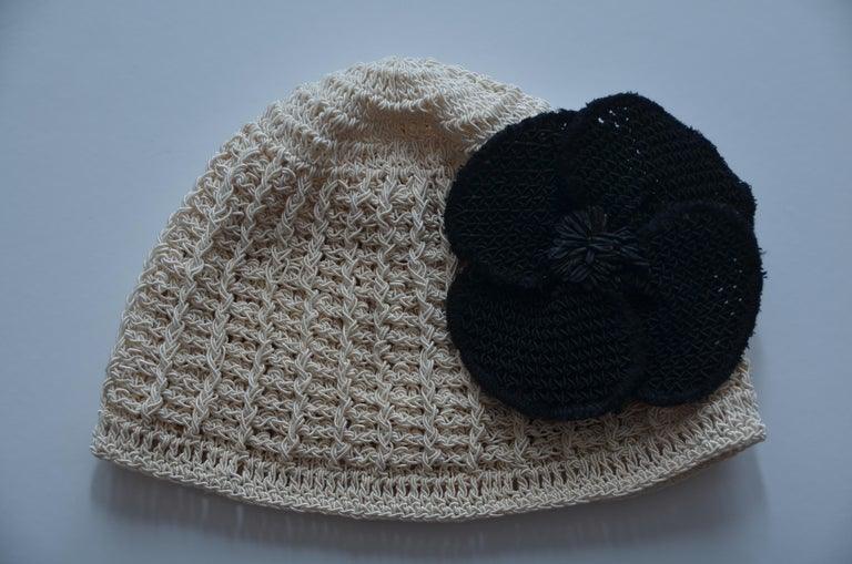 CHANEL Crochet Camellia Hat Beanie With Black Camellia Flower   Mint  For Sale 5