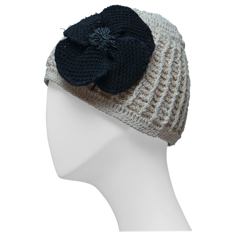 CHANEL Crochet Camellia Hat Beanie With Black Camellia Flower   Mint  For Sale