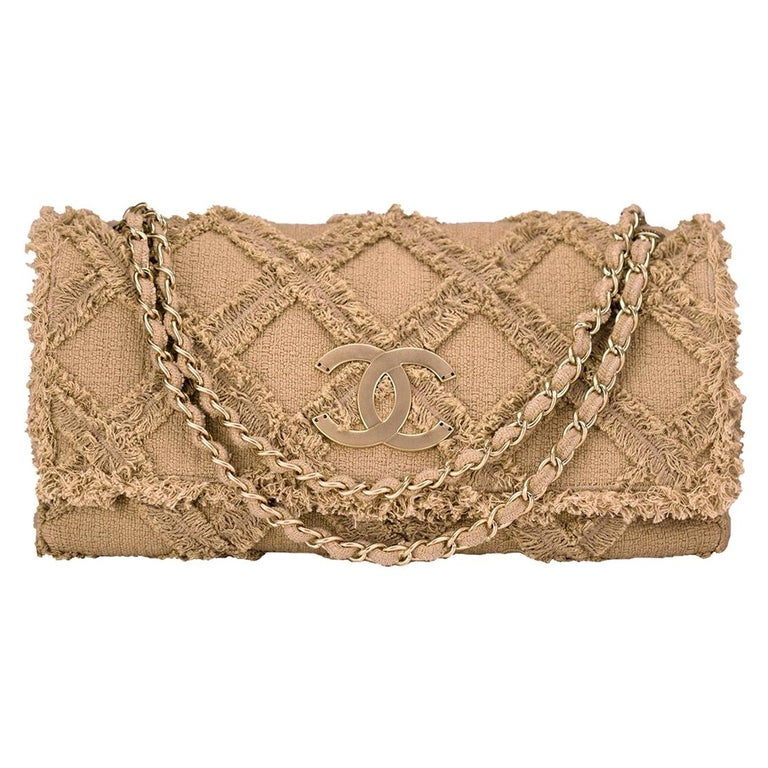 Chanel Crochet Tweed Extra Large Flap Bag For Sale