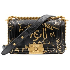 Chanel Crocodile Embossed Printed Leather & Gold-Tone Metal Small Boy Bag A67085