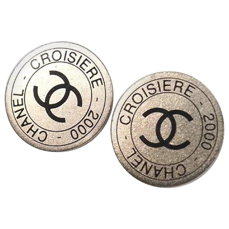 CHANEL CROISIERE coco mark earrings 2000 stainless steel Womens earrings silver For Sale