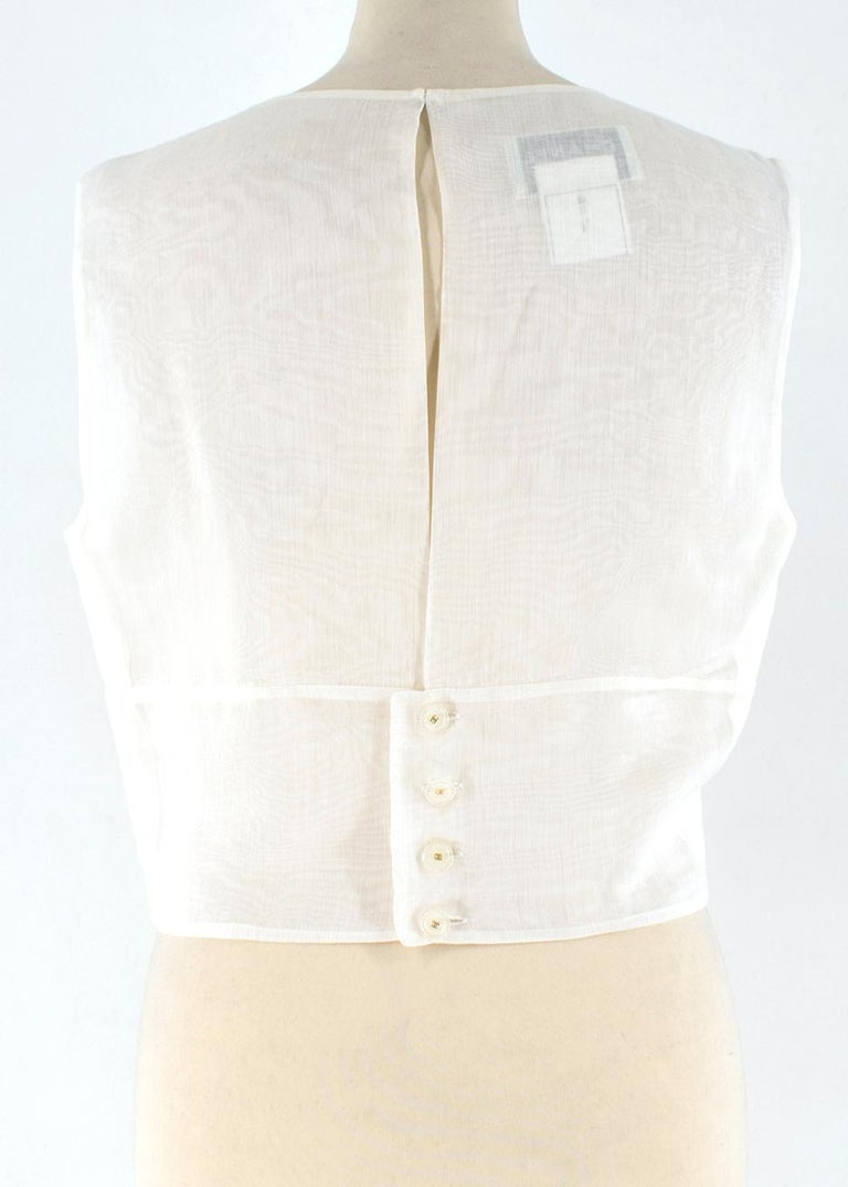 Chanel Cropped White Pleated Silk Top SIZE 40 In Excellent Condition For Sale In London, GB
