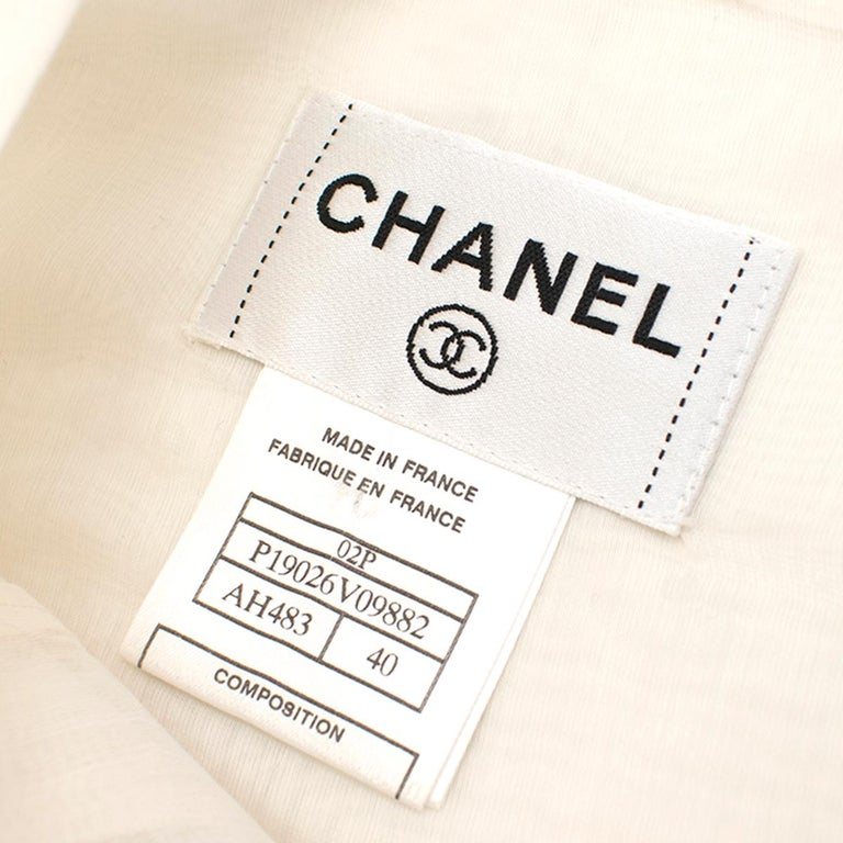 Chanel Cropped White Pleated Silk Top SIZE 40 For Sale 2