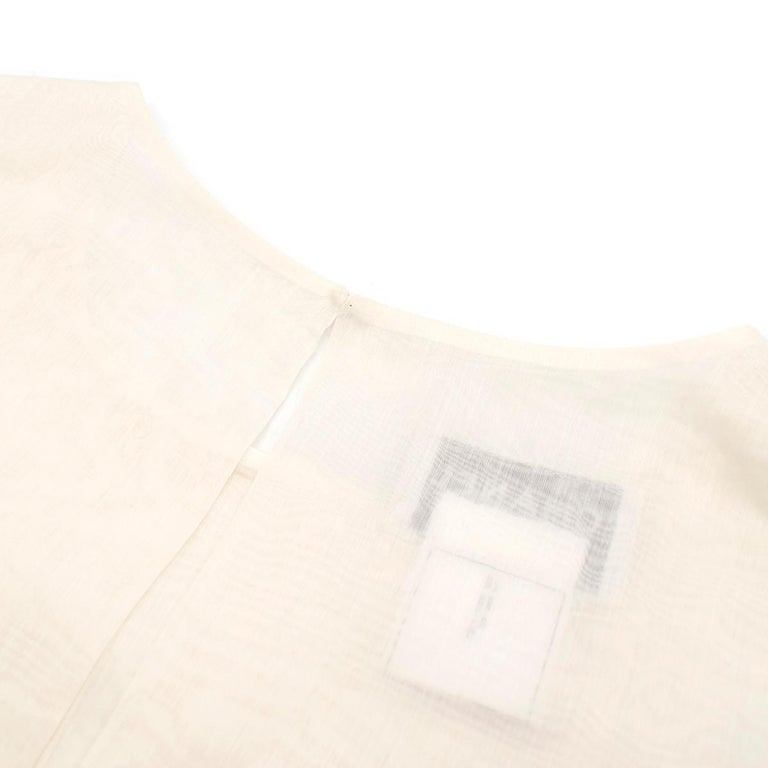 Chanel Cropped White Pleated Silk Top SIZE 40 For Sale 3