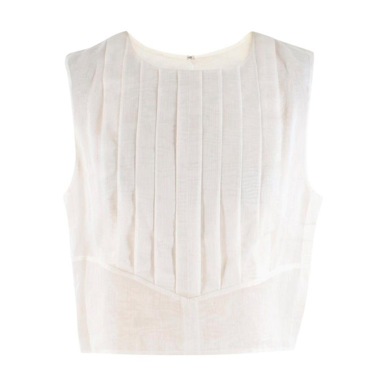 Chanel Cropped White Pleated Silk Top SIZE 40 For Sale