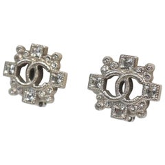 CHANEL cross coco mark line stone metal Womens earrings