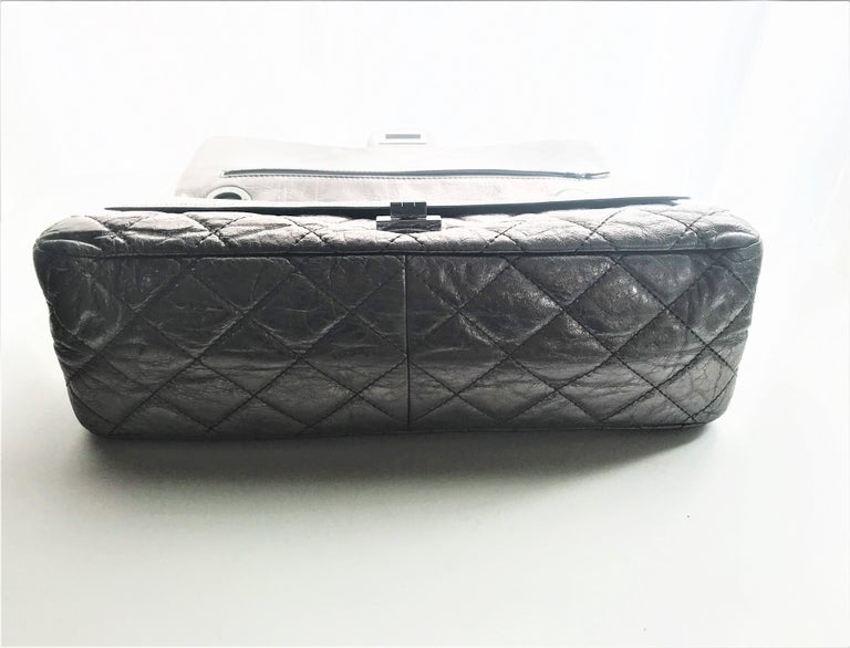 Chanel Cruis Collection maxi double flap bag silver distressed leather  For Sale 8