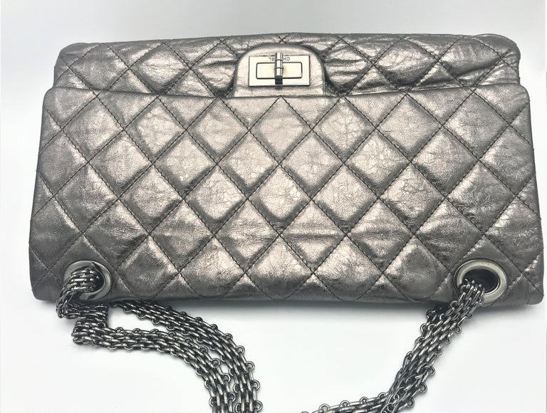 Chanel Cruis Collection maxi double flap bag silver distressed leather  For Sale 9