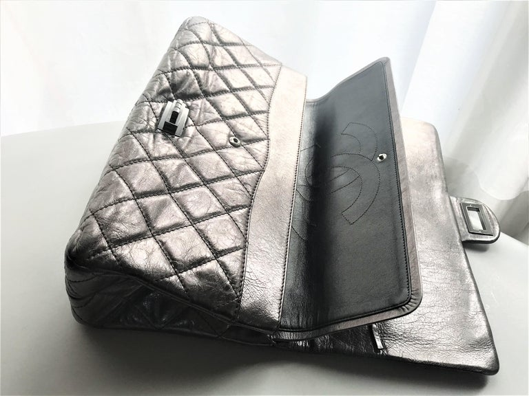 Women's or Men's Chanel Cruis Collection maxi double flap bag silver distressed leather  For Sale