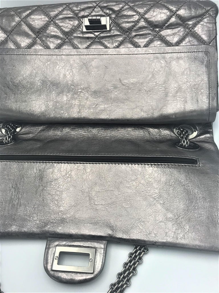 Chanel Cruis Collection maxi double flap bag silver distressed leather  For Sale 2