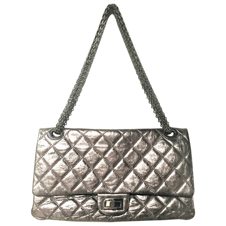 Chanel Cruis Collection maxi double flap bag silver distressed leather  For Sale