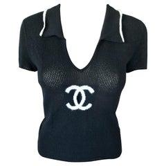 Chanel Cruise 2001 Logo Semi-Sheer Intarsia Knit Cashmere Black Sweater Top