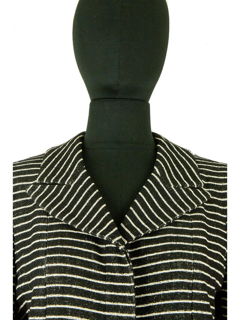 Black Chanel Cruise 2001 Striped Coat For Sale