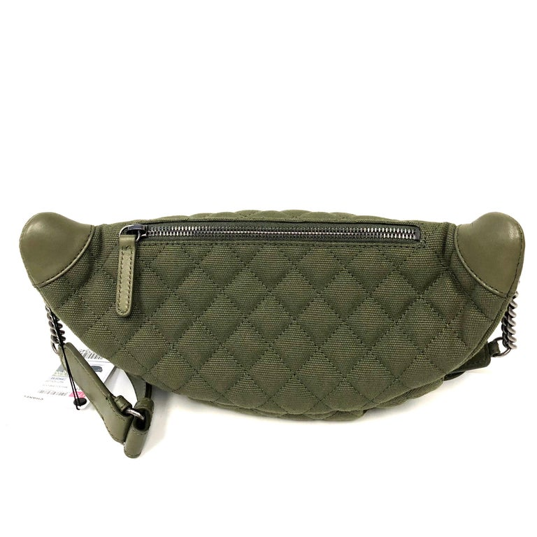 9702a9f4a55cbc CHANEL Cruise 2017 Quilted Coco Cuba Charms Khaki Waist Bag Fanny Pack For  Sale 1