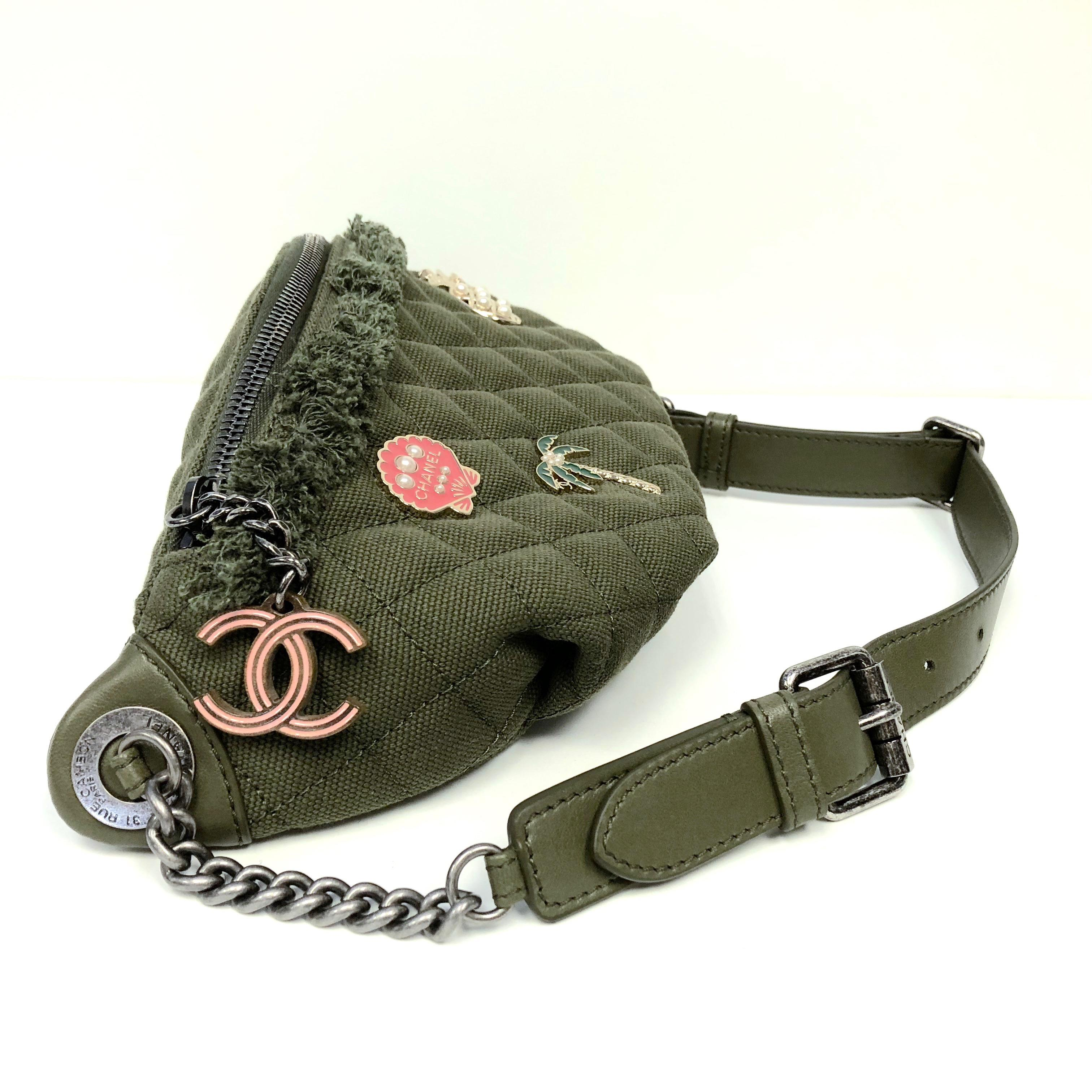 40c4dbf3424c12 CHANEL Cruise 2017 Quilted Coco Cuba Charms Khaki Waist Bag Fanny Pack at  1stdibs