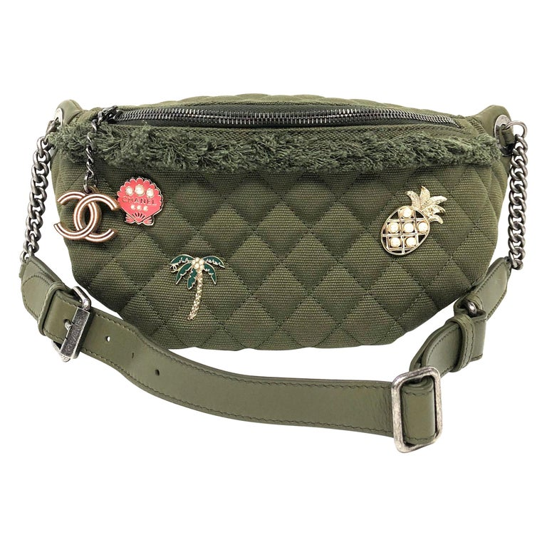 7eae97f3e0bf CHANEL Cruise 2017 Quilted Coco Cuba Charms Khaki Waist Bag Fanny Pack For  Sale