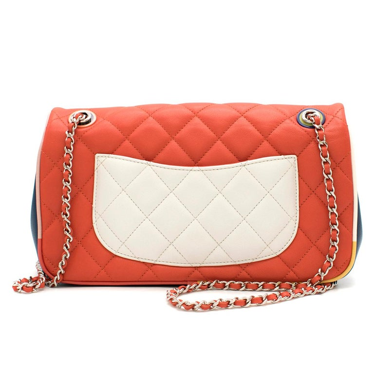 Red Chanel Cruise Collection Multi-Colour Flap Bag For Sale
