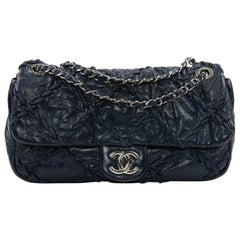 CHANEL Crushed Blue Quilted Lambskin Bag