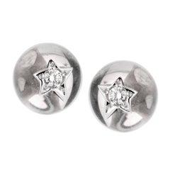 Chanel Crystal Diamond White Gold Stud Earrings
