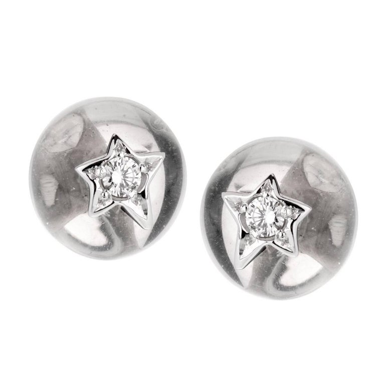 Chanel Crystal Diamond White Gold Stud Earrings For