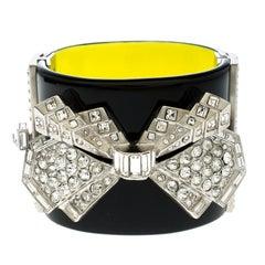 Chanel Crystal Embellished Black Resin Silver Tone Wide Cuff Bracelet