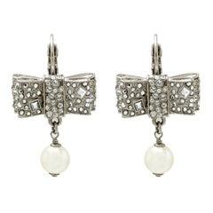 Chanel Crystal Encrusted Bow Pearl Drop Earrings