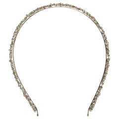 Chanel Crystal Faux Pearl Embellished Gold Tone Head Band