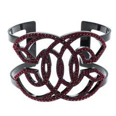 Chanel Crystal Logo Encrusted Black Tone Cuff Bracelet