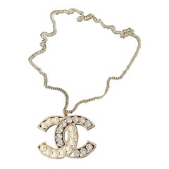 Chanel Crystal & Pearl Large CC Pendant Necklace