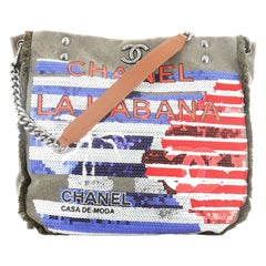 Chanel Cuba La Habana Chain Hobo Sequin Embellished Canvas Medium