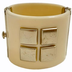 CHANEL Cuff Bracelet in Ivory Plexiglass and Gilt Metal