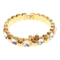 Chanel cuff/ bracelet with gold and glass stones, with spring loaded clasp