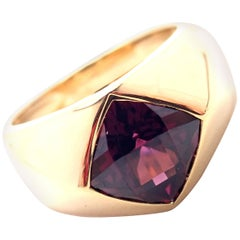 Chanel Cushion Cut Amethyst Yellow Gold Band Ring