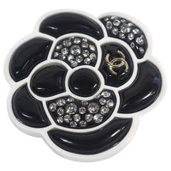 CHANEL D19 camelia brooch resin brooch white x black