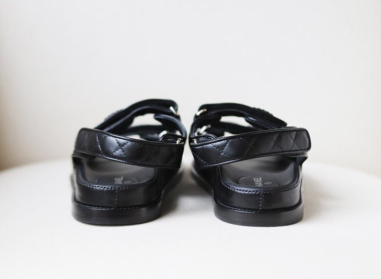 Women's Chanel Dad Quilted Leather Velcro Sandals For Sale