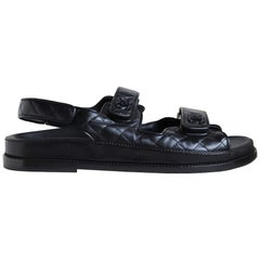 Chanel Dad Quilted Leather Velcro Sandals
