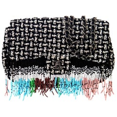 Chanel Dallas Metiers D'art 2014 Beaded Fringe Rare Tweed Classic Flap Bag