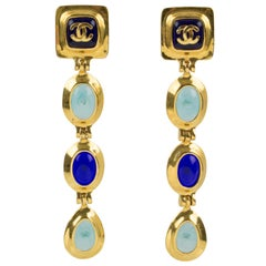 Chanel Dangle Clip Earrings Gripoix Blue Poured Glass Cabochon