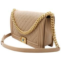 Chanel Dark Beige Grained Calfskin & Gold Tone Metal Large Boy Handbag