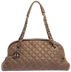 Chanel Dark Beige Quilted Leather Medium Just Mademoiselle Bowler Bag