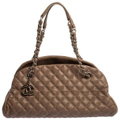 Chanel Dark Beige Quilted Leather Medium Just Mademoiselle Bowler Bag