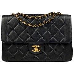 Chanel Dark Blue Classic Medium Single Flap Crossbody Bag