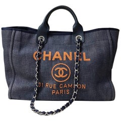 Chanel Dark Blue Denim Deauville Large Tote Bag with Orange Letters