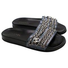 Chanel Dark Blue Glitter Chain Detail Slides - Us size 12