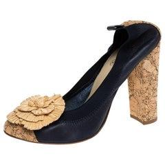 Chanel Dark Blue Leather And Raffia Camellia Scrunch Cork Block Heel Pumps Size