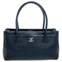 Chanel Dark Blue Leather Small Cerf Executive Tote