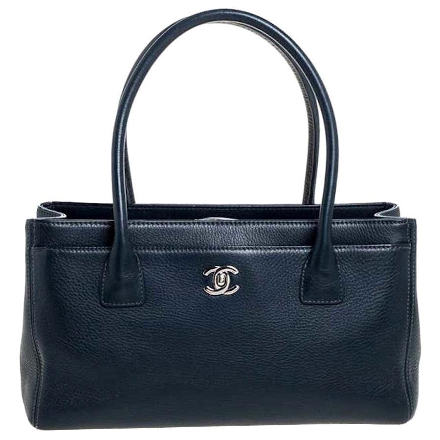 CHANEL DARK BLUE NAVY caviar leather Small Cerf Tote bag Rare $4500