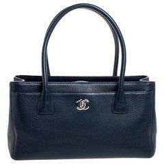 CHANEL DARK BLUE NAVY caviar leather Small Cerf Tote bag Rare $4500
