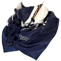 CHANEL dark blue & white JEWELRY PRINT silk Scarf