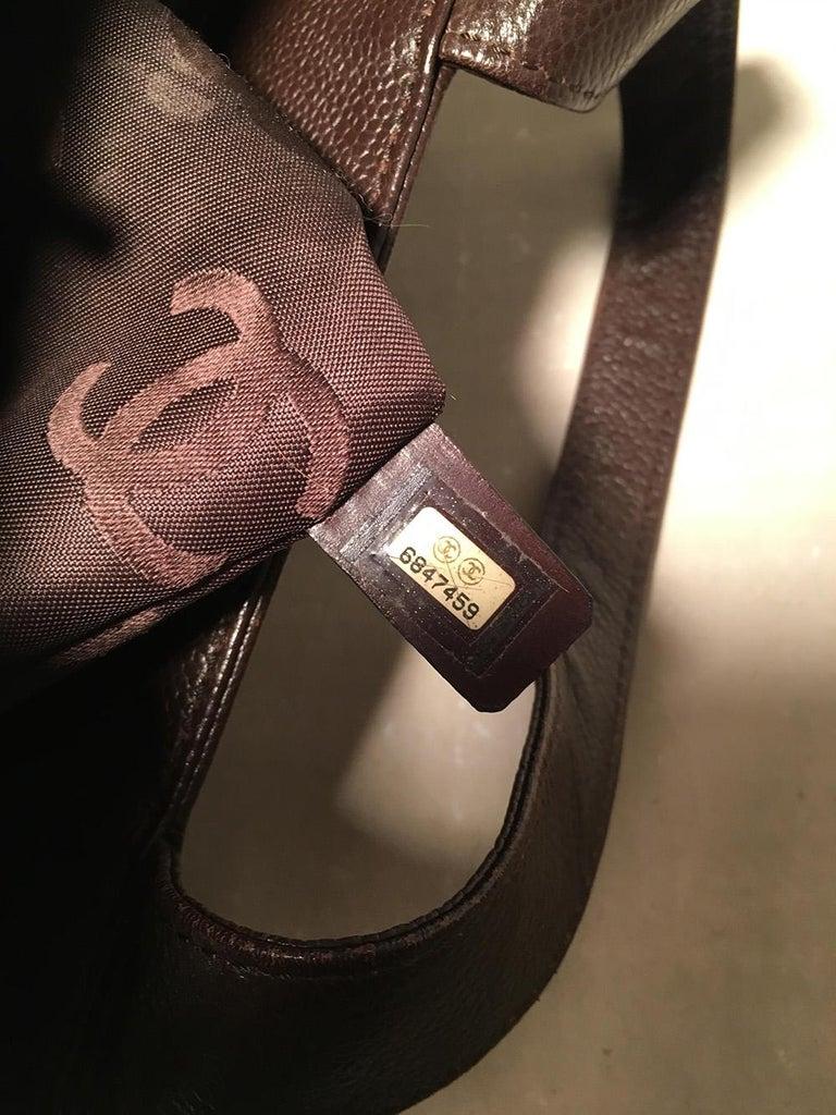 Chanel Dark Brown Caviar Top Handle Shoulder Bag Tote For Sale 6